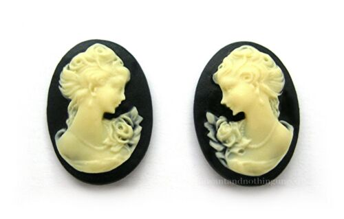 12 Right /& Left Facing IVORY color LADY w// ROSE on BLACK 18mm x 13mm CAMEOS LOT