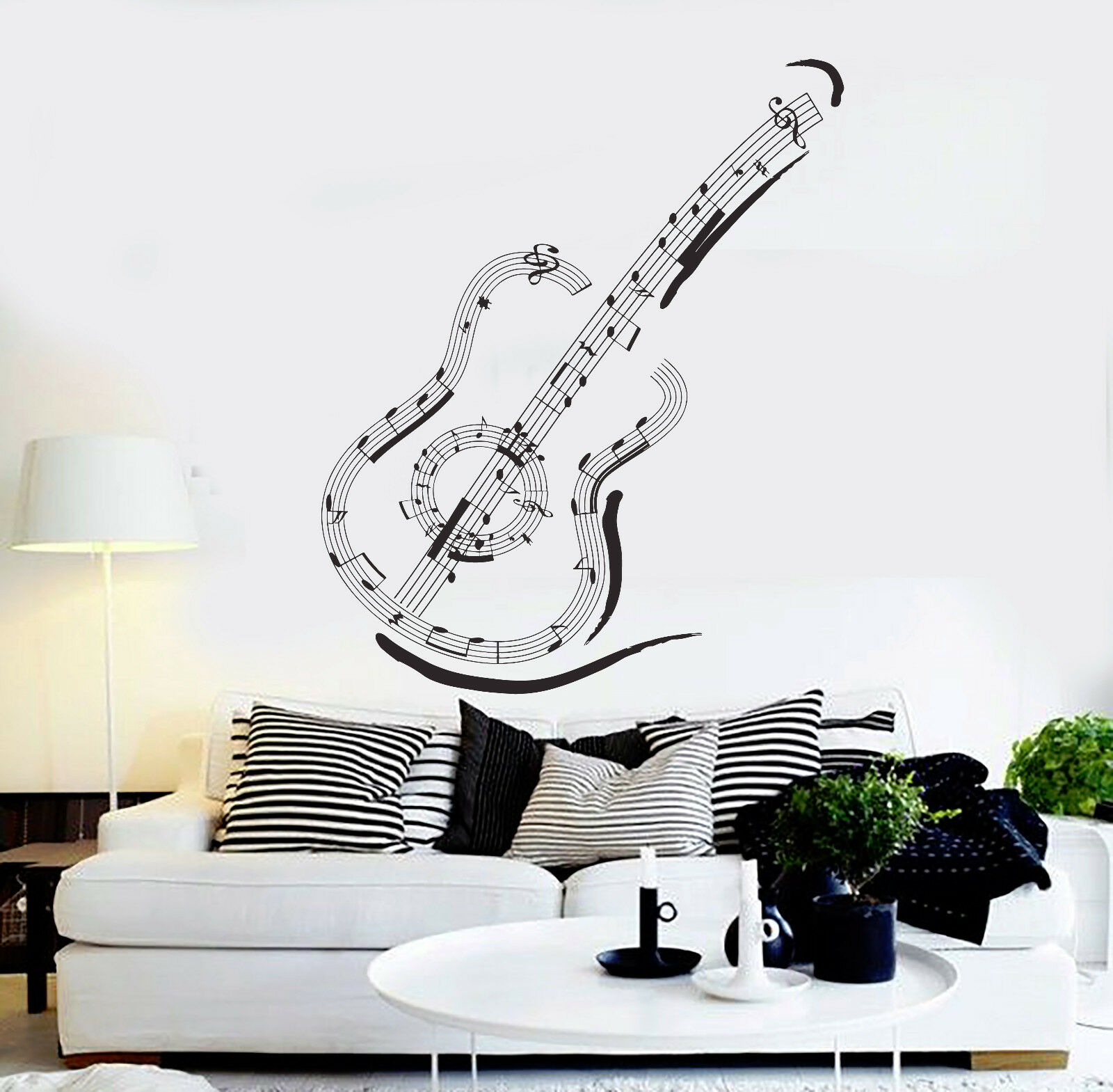 Vinyl Wall Decal Guitar Music Notes Musical Art Stickers Mural (ig4606)