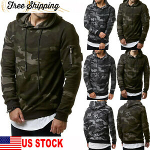 Fashion-Men-039-s-Fleece-Warm-Hoodie-Hooded-Camouflage-Sweatshirt-Pullover-Coat-Tops