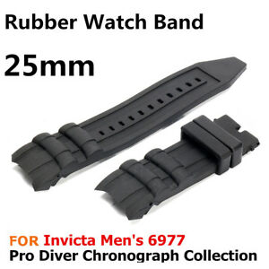 25mm-Black-Rubber-Watch-Strap-Band-for-Invicta-Men-039-s-6977-Pro-Diver-Collection