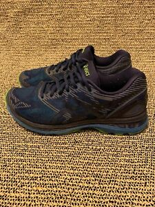promo code fffbb 4f054 Details about Asics Gel-Nimbus 19 Men's Athletic Running Shoes Size 10 Navy  Blue/Green