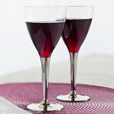 Wine Glasses Disposable Plastic Silver Stem 100pc Party Reusable Tableware Glass