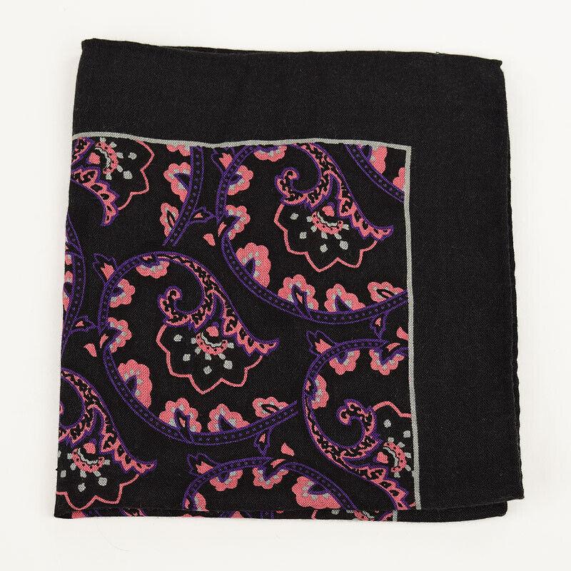 BLOOMINGDALES Black Purple Pink FANS Handmade Wool Silk Blend Pocket Square NWT