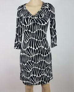 Tommy-Bahama-Dress-Womens-Size-XXS-Black-White-Geo-Print-3-4-Sleeve-Sheath