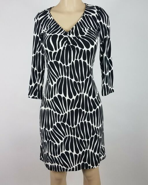 Tommy Bahama Dress Womens Size XXS Black White Geo Print 3/4 Sleeve Sheath