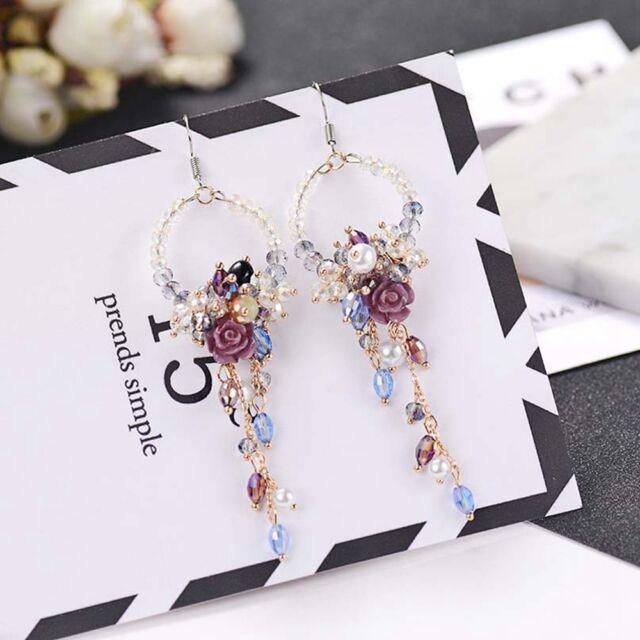 Crystal Rhinestone Flower Tassel Ear Stud Long Dangle Drop Fringed Earrings-
