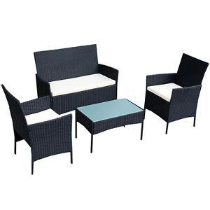 4 pc outdoor rattan furniture set loveseat sofa cushioned patio