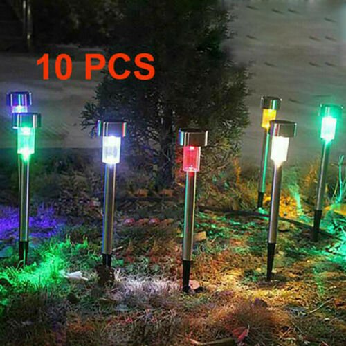 10x 20Solar Power LED Stake Light Patio Outdoor Garden Lawn Path Lamp Colorful