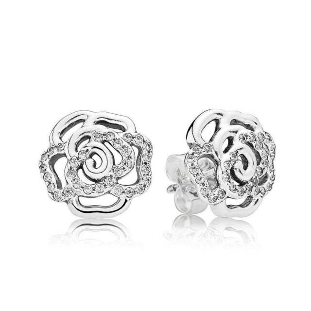 0c3406b49 New Authentic Pandora Shimmering Rose CZ Stud Earrings 290575CZ W Suede  Pouch