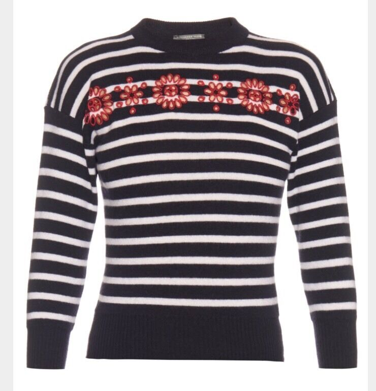 Alexander McQueen 3 4 Sleeve Navy Cut-out Embroidered floral Striped Jumper S
