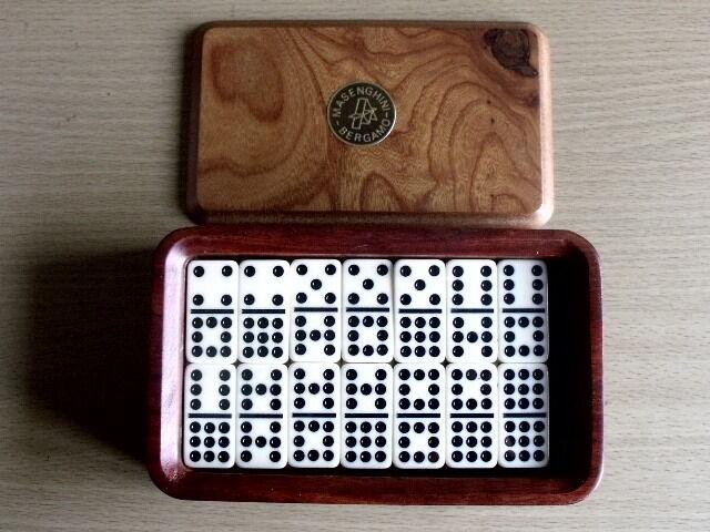 Gioco domino in scatola di radica vintage anni 70 MASENGHINI Bergamo