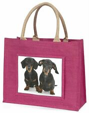 Two Cute Dachshund Dogs Large Pink Shopping Bag Christmas Present Ide, AD-DU2BLP