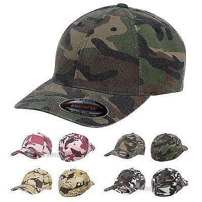 556e75f1b Flexfit Mens Camouflage Cap Structured Camo Fitted Hat S/M L/XL 6977CA |  eBay