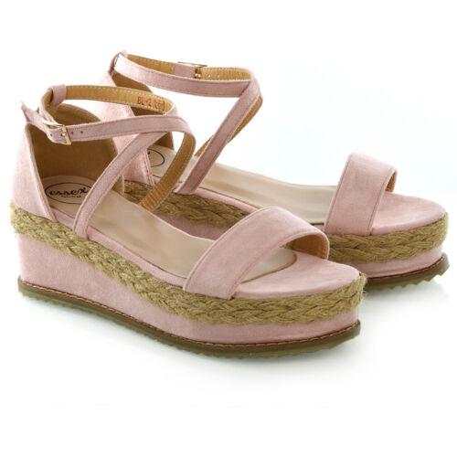 Chaussures Femme Plateforme Liège Espadrille Compensé Sandales Femme Cheville Sangle Chaussures Taille 3-8