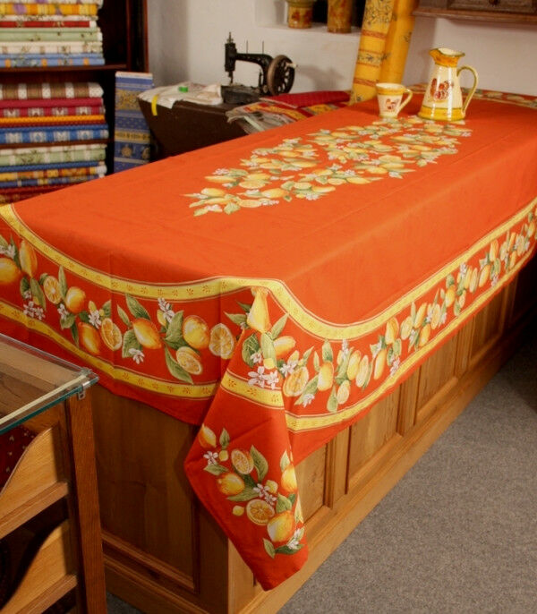 ACRYLIC COATED COTTON 60x98 + 8 NAPKINS LEMONS FRENCH PROVENCE Orange TABLECLOTH