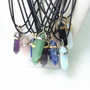 Preciosa-Mujer-Gargantilla-Collar-Colgante-De-Cristal-Natural-Piedra-Necklace