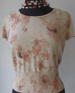 Rena-Rowan-Women-039-s-Knit-Top-Short-Sleeve-Pullover-Floral-Print-Beige-Size-Medium