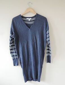 Women-039-s-BCBGeneration-Navy-amp-Silver-Sweater-Dress-Size-Small