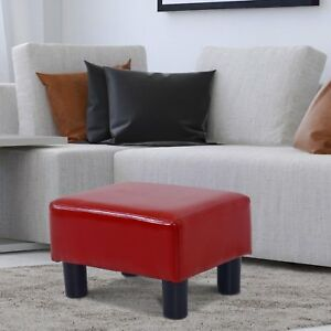 PU-Leather-Ottoman-Furniture-Footrest-Stool-Sofa-Stool-Lightweight-Rectangle-Red