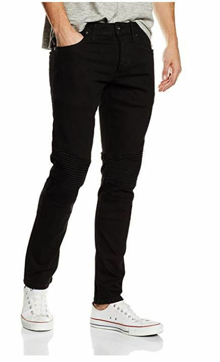 Da Uomo Jack & Jones Glenn Jeans Slim Fit Nero W32 L30 D333-6