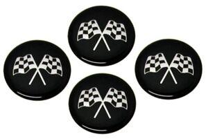 1968-1982-CORVETTE-EMBLEM-SET-WHEEL-CROSS-FLAG-BLACK-1-3-4-SET-OF-4