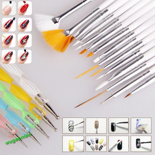 20PCS Nail Art UV Gel Design Painting Pen Brush Set for Salon Manicure DIY Tool