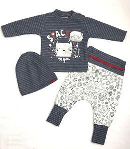 Babyset Set Jungen Jogging 3-teilig Grün Löwe Hose Pullover Mütze 56 62 68
