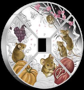 2020 LUNAR YEAR OF THE MOUSE QUADRANT SILVER $1 4-coin-set 4x 1oz Fan-shape