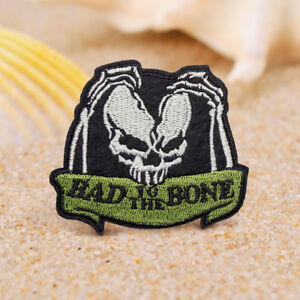 0665162cab8 Bad Bone Skull Embroidered Sew On Iron On Patch Badge Fabric ...