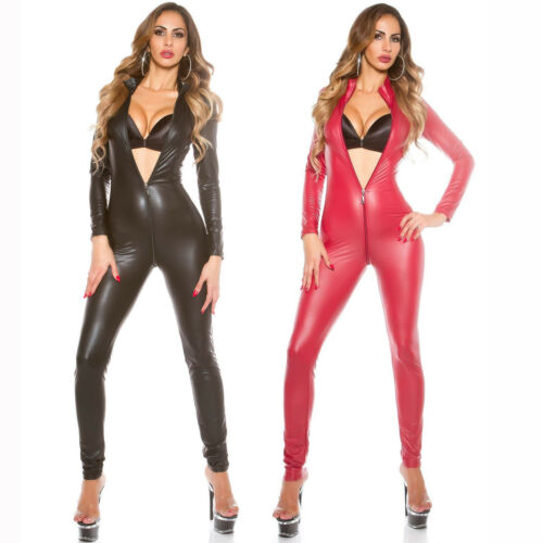 sexy catsuit pelle donna Fetish lattice in nera Bodywear Guanti verniciata in qvWYO
