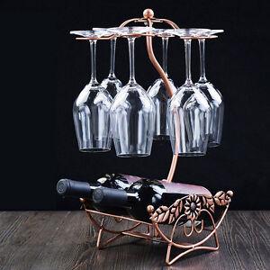 Wine Rack Champagne Bottle Glasses Hanging Holder Dining Table