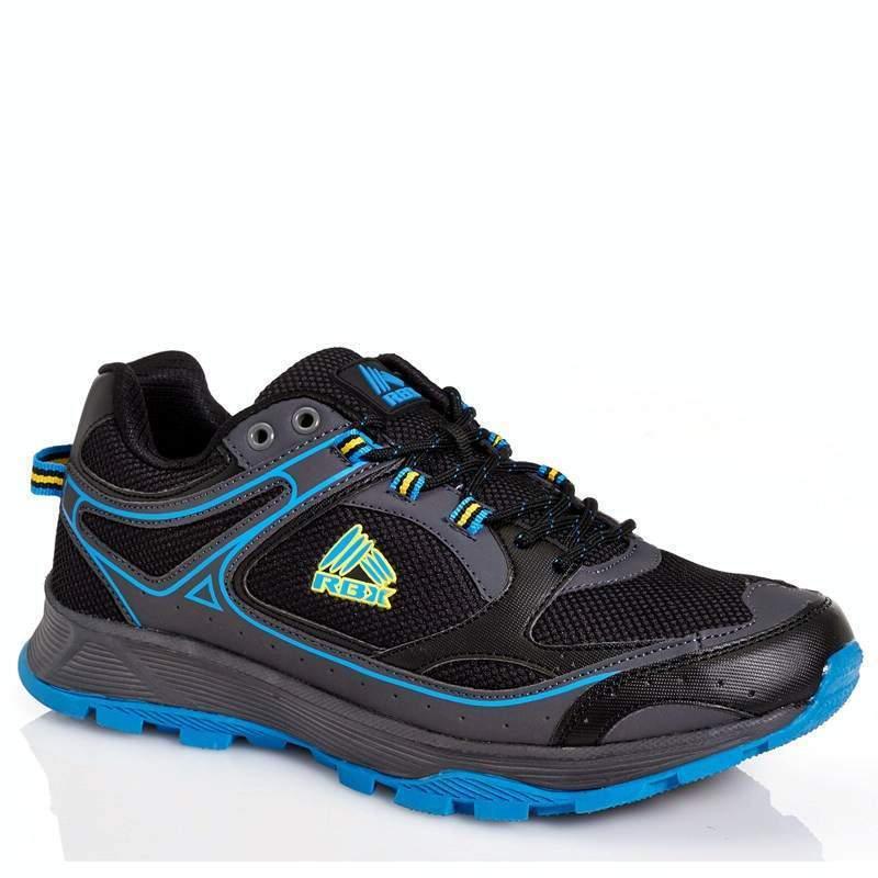 New RBX  Peak 9 Trail Running Mens Comfort Sock shoes Black/Grey/Blu<wbr/>e