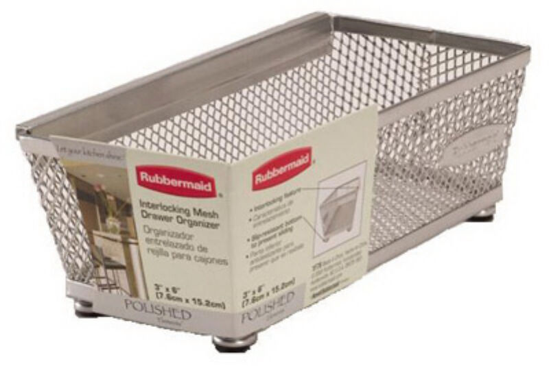 (6) Rubbermaid 1F7600-TITNM 3  x 6  Metal Mesh Drawer Organizer Bins