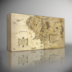 HOBBIT-LORD-OF-THE-RINGS-MIDDLE-EARTH-MAP-PREMIUM-GICLEE-CANVAS-ART