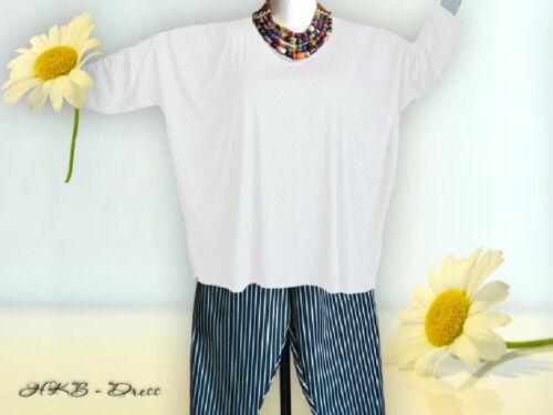 extra lange Ärmel Gr Oversized Shirt von 48-64,Jersey,Baumwolle weiss