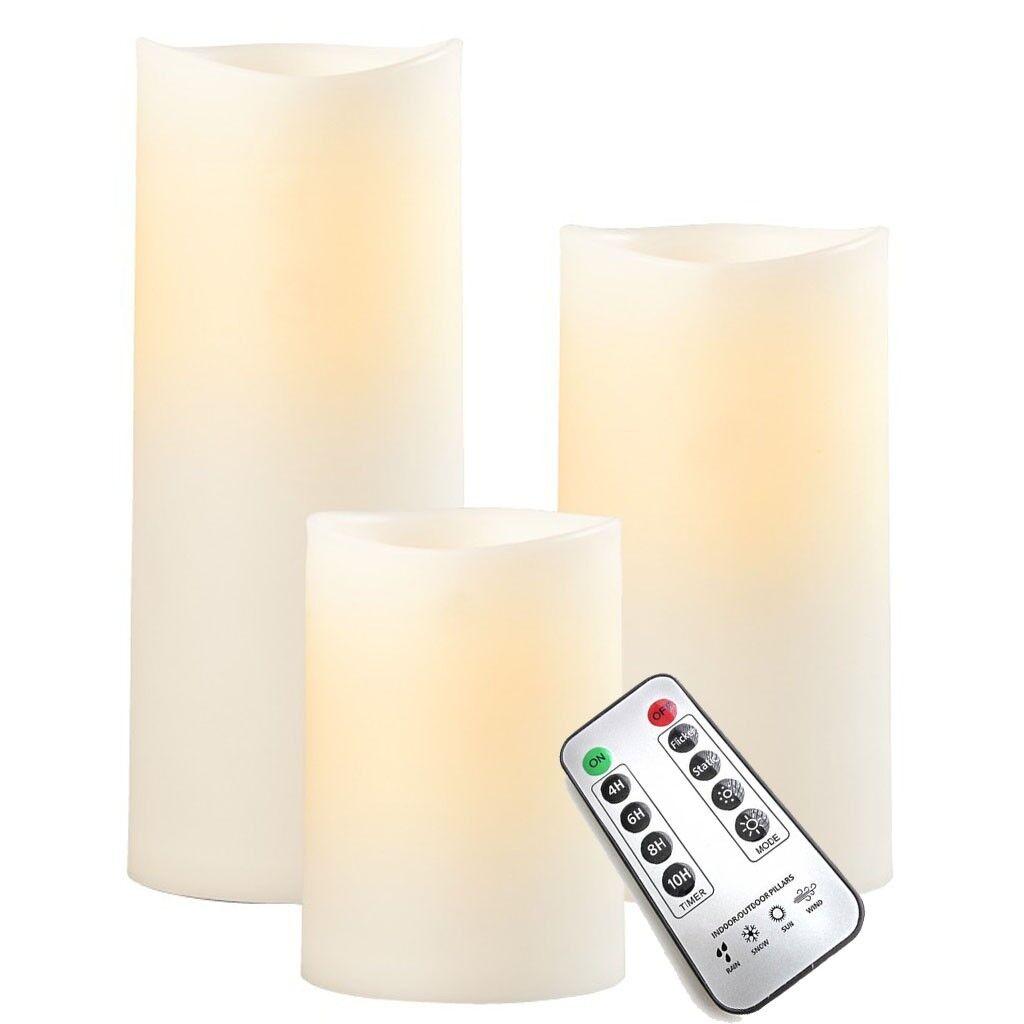 3er Set SOMPEX LED candele esterne Bundle-dell' avorio in plastica con telecomando