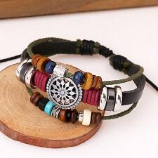 Caliente de la venta braidedgenuine pulsera de cuero de hombres y mujer joyeria