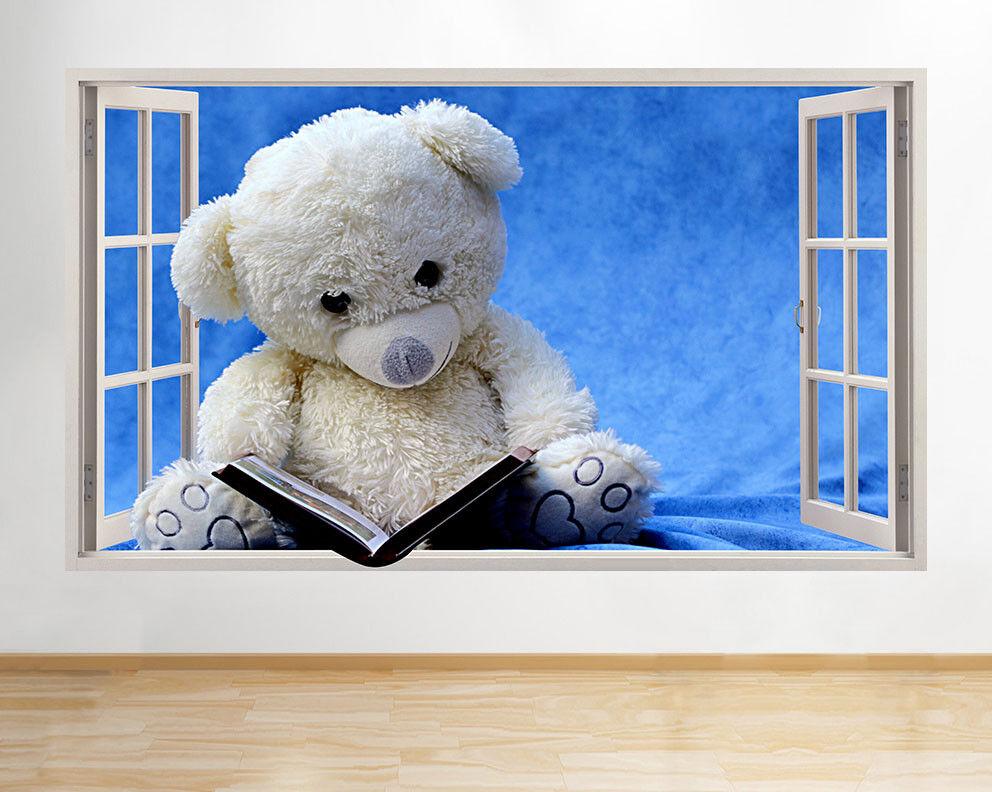 D118 Teddy Bear Lire Livre Nursery fenêtre Autocollant Chambre 3D Vinyle enfants