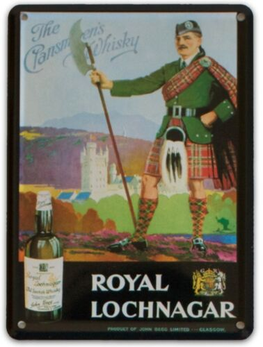 ROYAL LOCHNAGER WHISKY Small Metal Tin Pub Sign