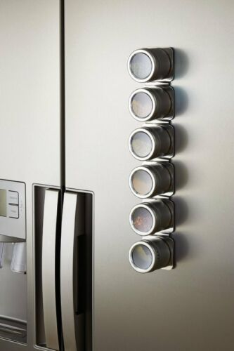 """43 cm Wall-Mounted Spice Rack with 6 Spice Jars Master Class Magnetic 17/"""""""