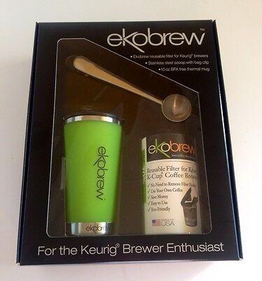 *NEW Ekobrew Coffee Gift Pk Refillable Keurig K-Cup Filter + Thermal Mug + Scoop