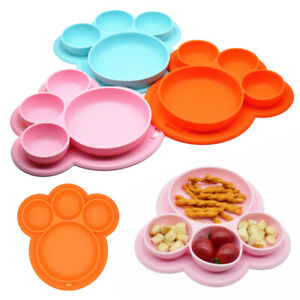 Baby-Plates-Bear-Cute-Paw-Toddler-Plate-Kids-Happy-Mat-Suction-Table-Food-Tray