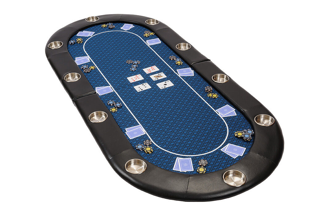 Riverboat Folding Poker Table Top in bleu Speed  Cloth 200cm Seats 10 People  magasin pas cher
