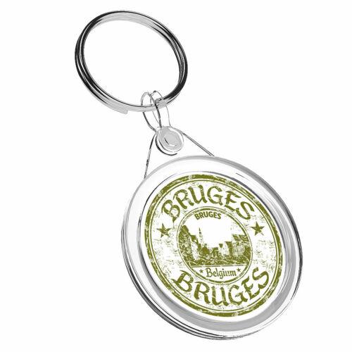 1 x Bruges Belgium Green Stars Keyring IR02 Mum Dad Kids Birthday Gift #6100