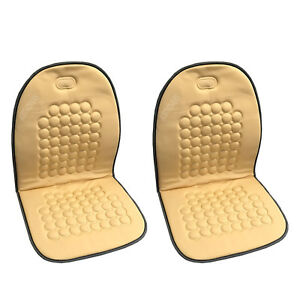 New Beige Cream Magnetic Therapy Massage Car Seat Cushion 2 PC