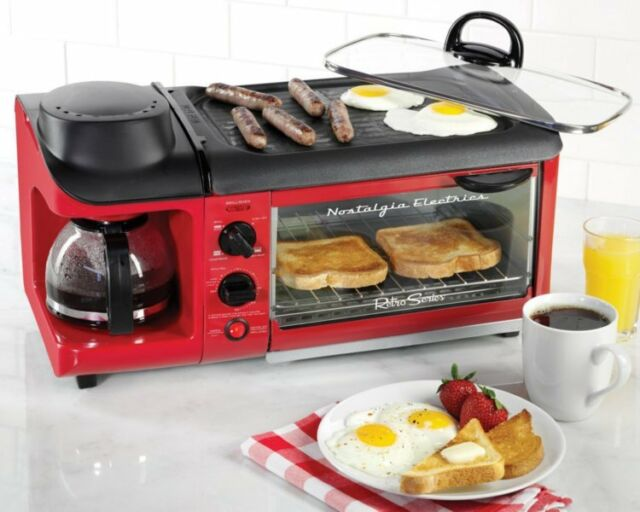 Breakfast Station Coffee Maker Toaster Griddle Oven Electric 3 In