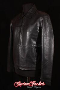 de2255e999 Details about Men's CLASSIC COLLAR Black Casual Plain Simple Real Nappa  Leather Jacket