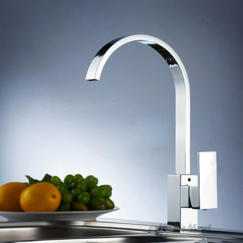 Modern Square Chrome Single Lever Kitchen Sink Mixer Tap Swivel Spout Faucet