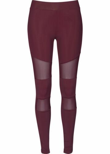 31/% OFF B18103684 Damen 77 Lifestyle Hose Leggings Gummibund Mesh Optik bordeaux
