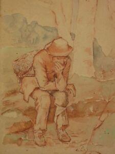 Amical Eugène Crocquefer (xix) Rare Sanguine De Ce Sculpteur Portrait Homme Méditant